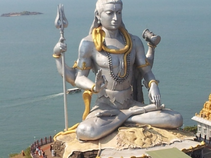 Lord Shiva's Statue as seen from the Temple Gopuram