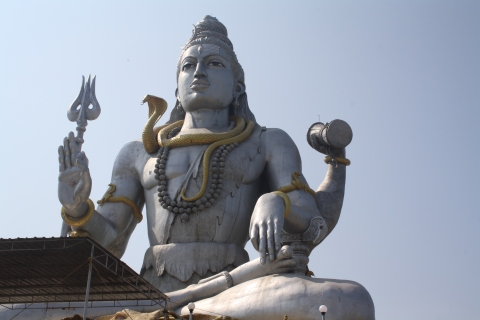 Lord Shiva's Statue at the base of the temple