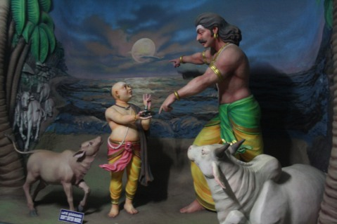 Ravana giving the Atma Linga to the Bramhin Boy