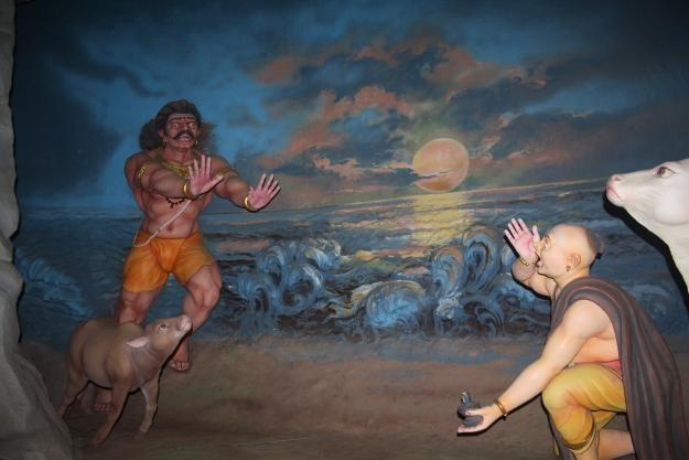 Ganesha places the Atma Linga on the ground