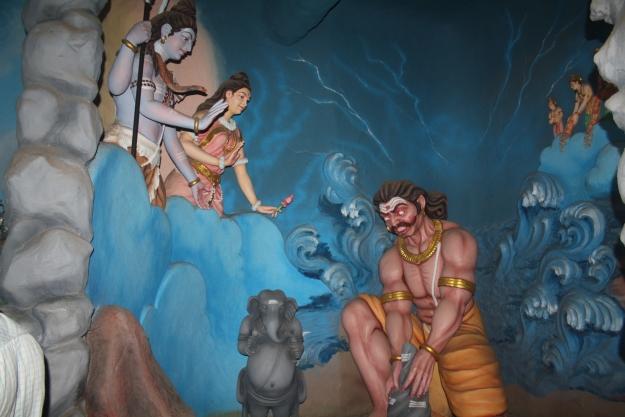 Ravana uprooting the Atma Linga