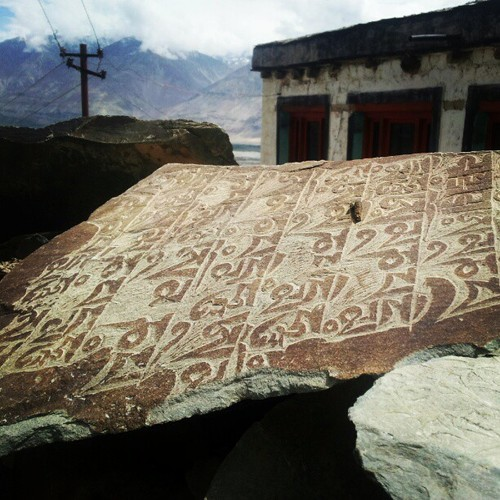 Ancient Ladakhi stone with inscriptions