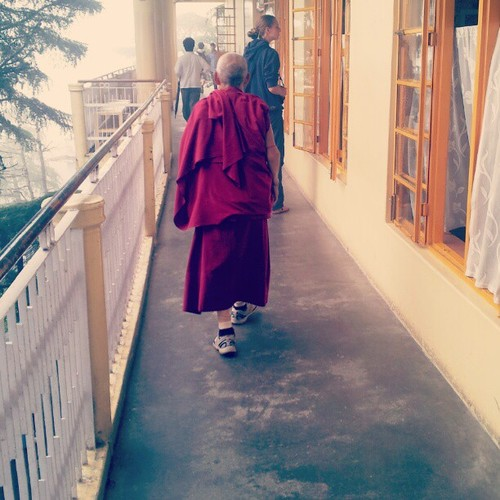 A monk circumambulating inside the temple…