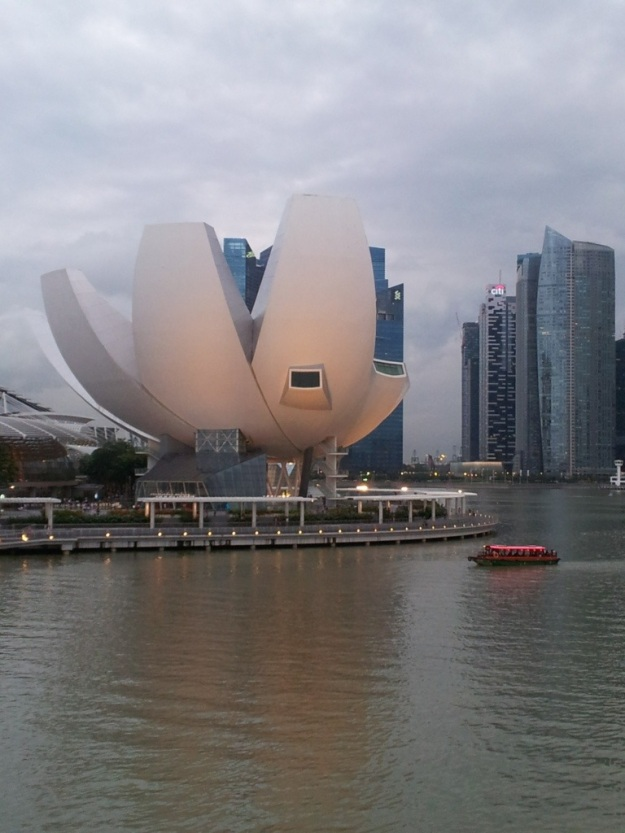 A view of the Lotus shaped Arts Science centre from The Helix Bridge…