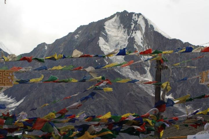 Tibetian flags across the mountain