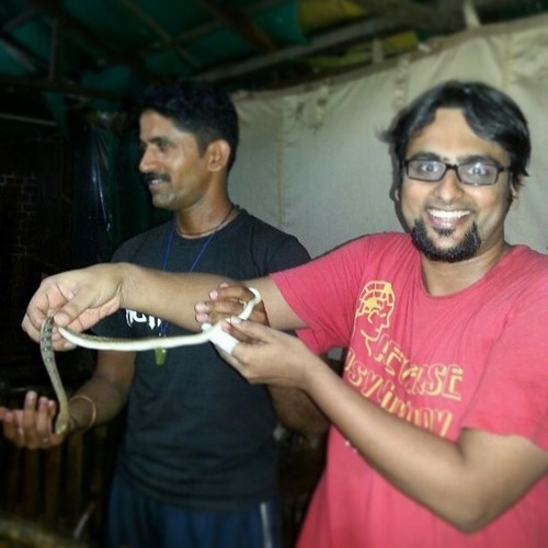 Me holding Striped Keelback