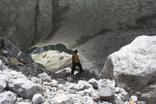 Caves formed by Glaciers at Vasudhara Falls
