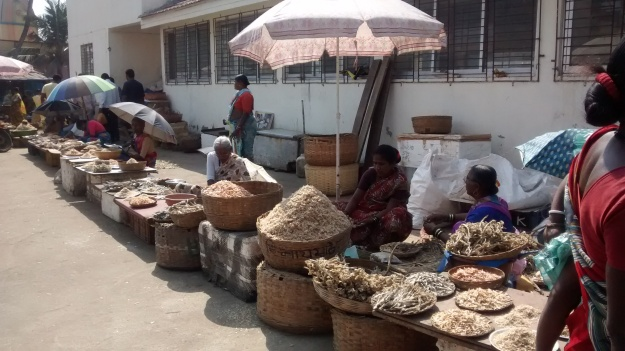 Local Fisherwomen selling dried fish
