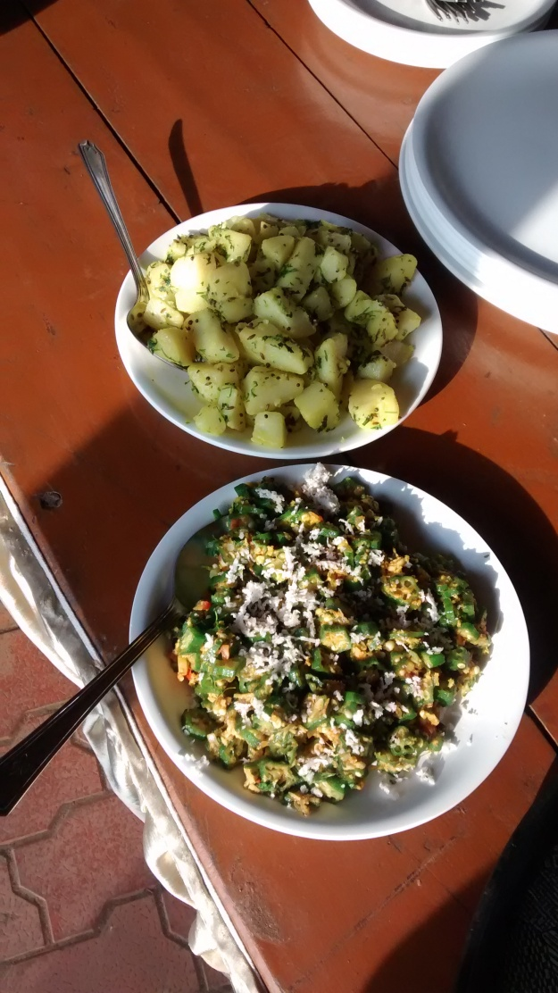 Malvani Bhindi Fry and Potatoe Vegetable